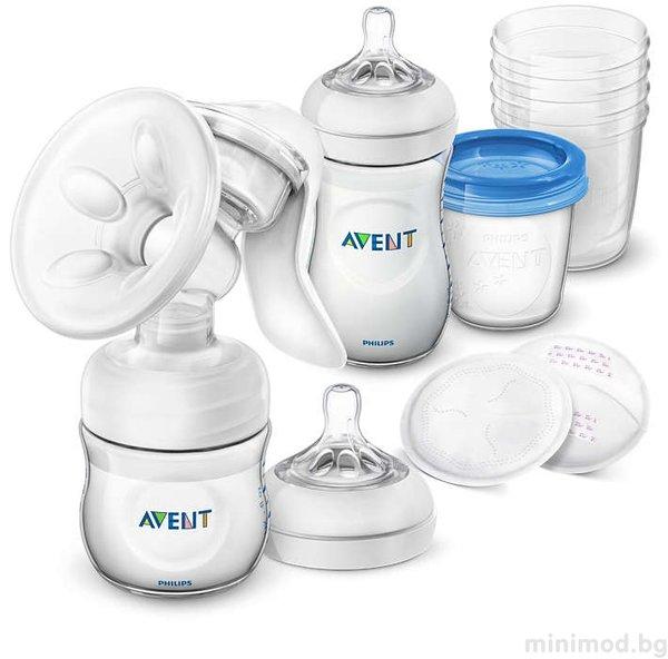 Avent  Комплект Mexанична Помпа за кърма Comfort + Шишета Natural + VIA 0548